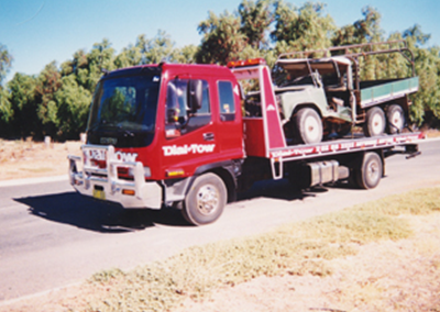 A heavy truck being towed