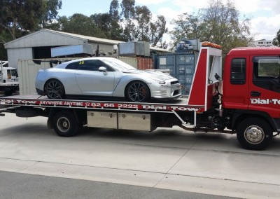 Towing a Nissan GTR - we provide prestige car towing services across Australia