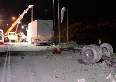 The Dial-a-Tow team in action at another crash site offering emergency towing services in the night